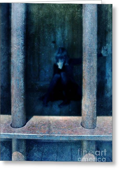 Dejected Greeting Cards - Woman in Jail Greeting Card by Jill Battaglia
