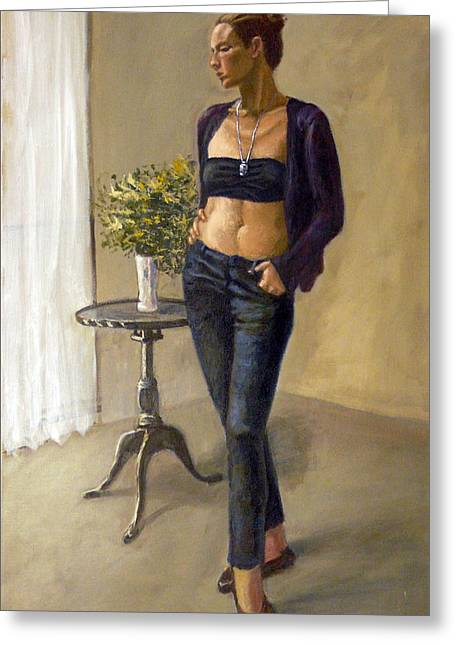 Vase With Figures Greeting Cards - Woman In Jeans Greeting Card by Victor Zucconi