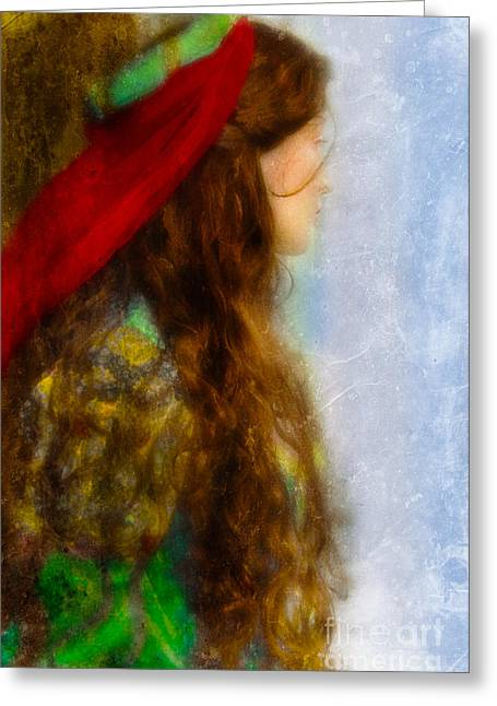 Period Photographs Greeting Cards - Woman in Medieval Gown Greeting Card by Jill Battaglia