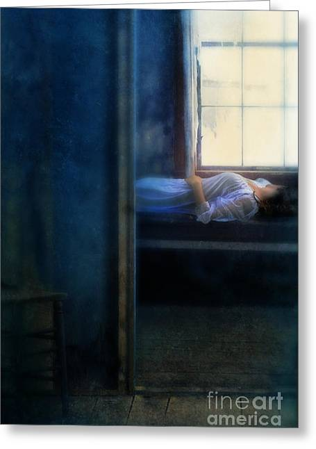 Hopelessness Greeting Cards - Woman in Nightgown in Bed by Window Greeting Card by Jill Battaglia