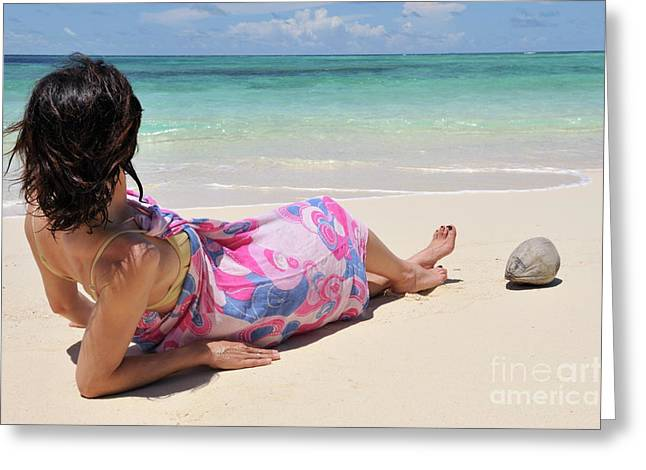 Women Only Greeting Cards - Woman in pareo lying on tropical beach Greeting Card by Sami Sarkis
