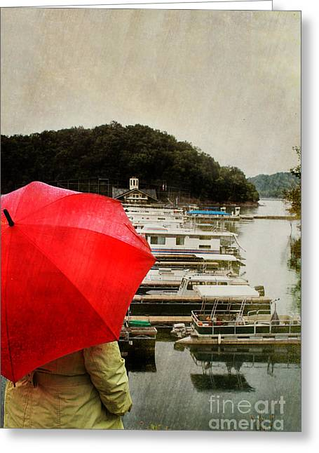 Raincoats Greeting Cards - Woman in Rain Greeting Card by Stephanie Frey
