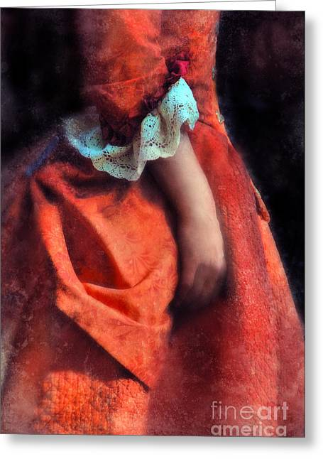 Dressy Greeting Cards - Woman in Red 18th Century Gown Greeting Card by Jill Battaglia