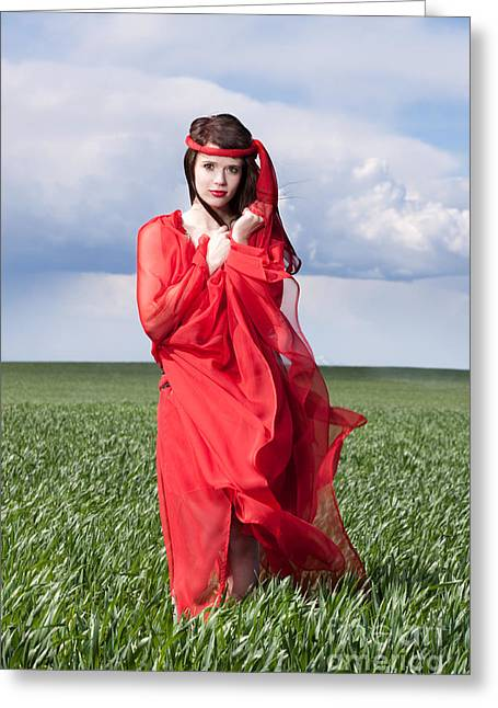 Woman In Red Series Greeting Card by Cindy Singleton