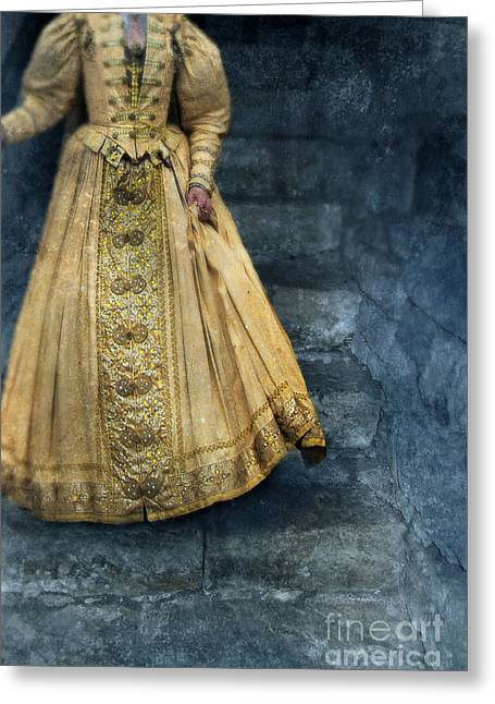 Renaissance Clothing Greeting Cards - Woman in Renaissance Clothing on Stone Staircase Greeting Card by Jill Battaglia