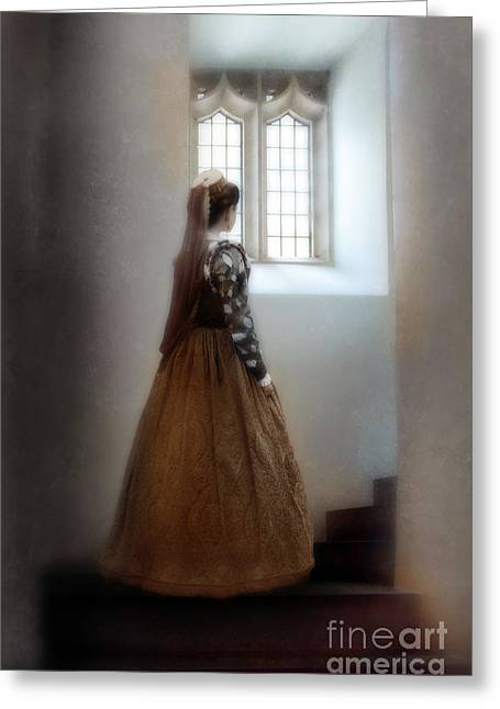 Renaissance Clothing Greeting Cards - Woman in Renaissance Gown by Stairway Window Greeting Card by Jill Battaglia