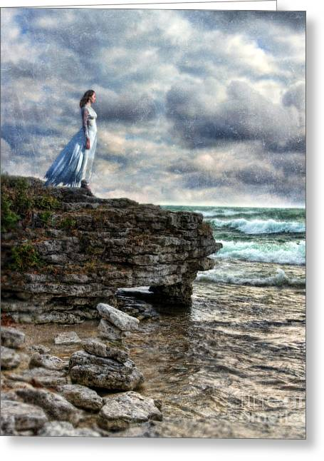 Tattered Greeting Cards - Woman in Tattered Dress by the Stormy Sea Greeting Card by Jill Battaglia