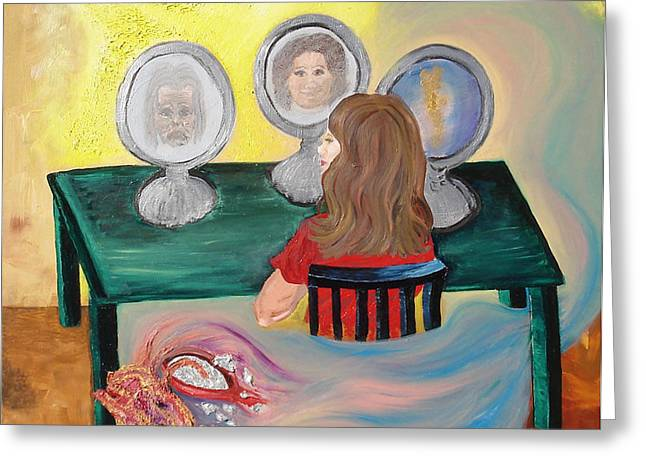 Table And Chairs Mixed Media Greeting Cards - Woman In The Mirror Greeting Card by Lisa Kramer