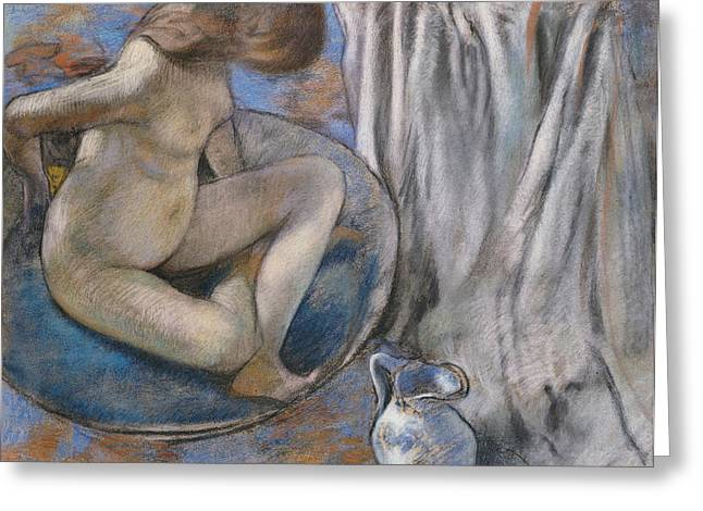 Woman In The Tub Greeting Card by Edgar Degas