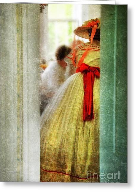 Tea Party Greeting Cards - Woman in Vintage Victorian Era Dress Greeting Card by Jill Battaglia
