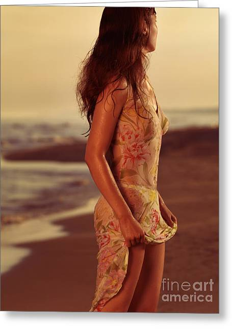 Evening Dress Greeting Cards - Woman in Wet Dress at the Beach Greeting Card by Oleksiy Maksymenko