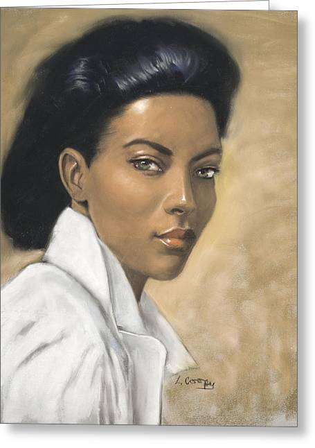 L Cooper Pastels Greeting Cards - Woman in  White Blouse Greeting Card by L Cooper