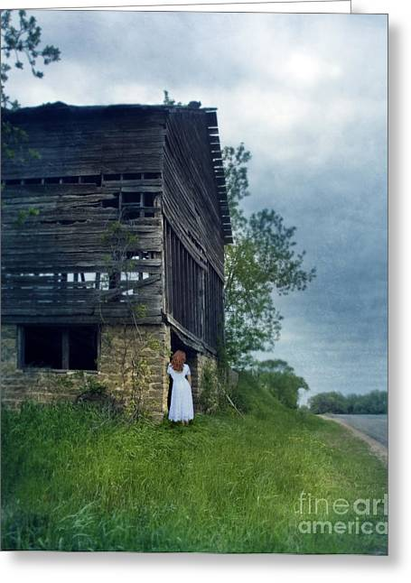 Run Down Greeting Cards - Woman in White by Old Barn Greeting Card by Jill Battaglia