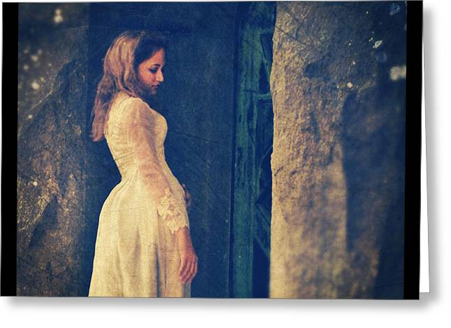 Brides Dress Greeting Cards - Woman in White in Doorway Greeting Card by Jill Battaglia