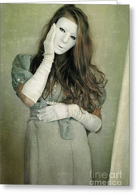 Pretender Greeting Cards - Woman in White Mask Wearing 1930s Dress Greeting Card by Jill Battaglia
