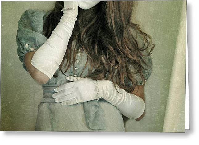 Woman in White Mask Wearing 1930s Dress Greeting Card by Jill Battaglia