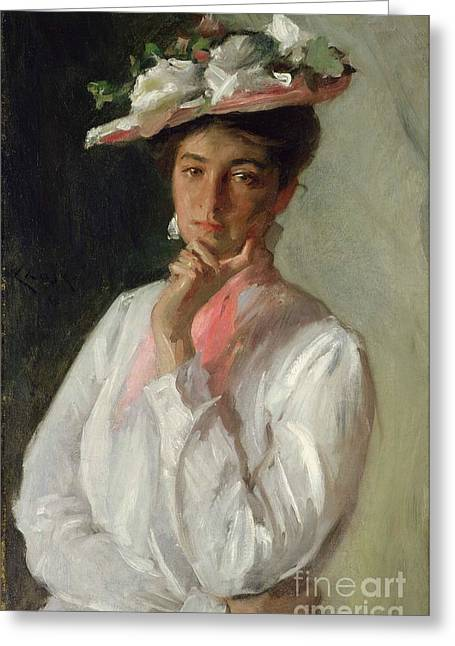 Contemplative Paintings Greeting Cards - Woman in White Greeting Card by William Merritt Chase