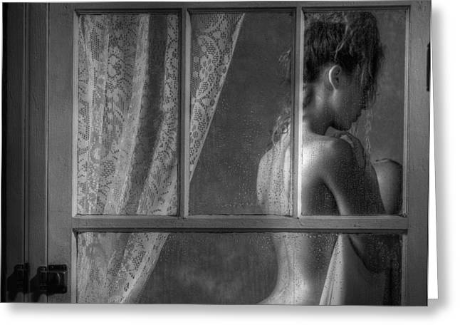 Exhibitionist Greeting Cards - Woman In Window Greeting Card by Ron Schwager