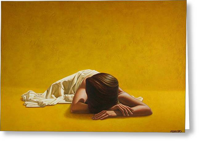 Woman Nude Greeting Cards - Woman in Yellow Greeting Card by Horacio Cardozo