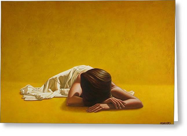 Woman in Yellow Greeting Card by Horacio Cardozo