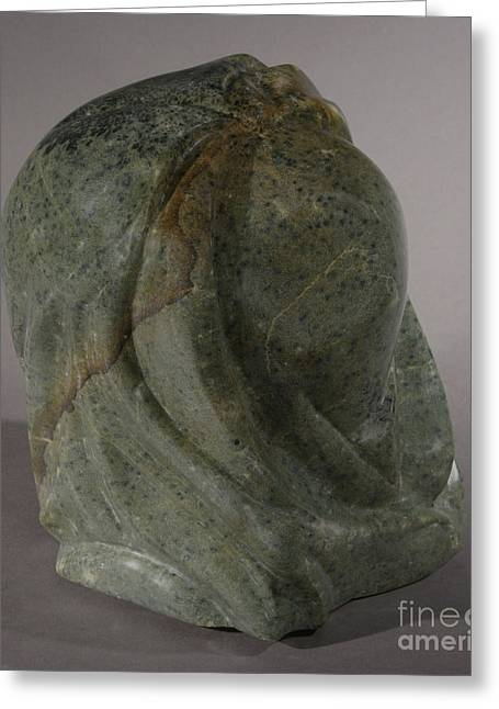 Woman Head Sculpture Sculptures Greeting Cards - Woman Greeting Card by Karen  Peterson