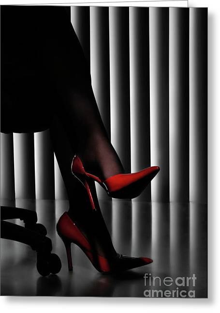 Feminity Greeting Cards - Woman Legs in Red Shoes Greeting Card by Oleksiy Maksymenko