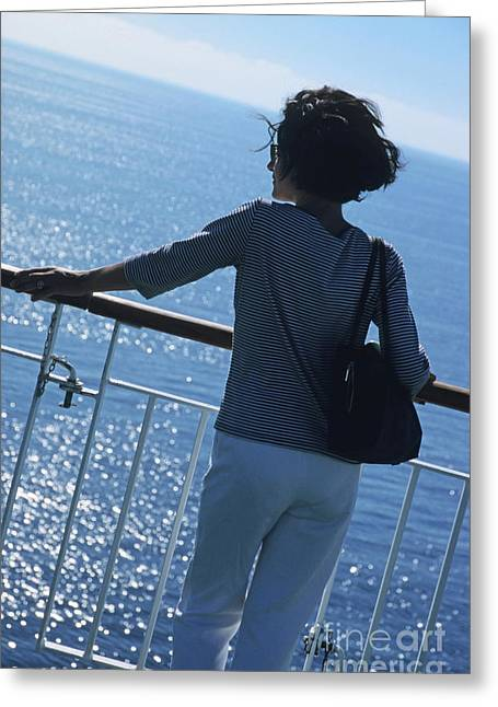 Only Mature Women Greeting Cards - Woman looking out to sea from deck of boat Greeting Card by Sami Sarkis
