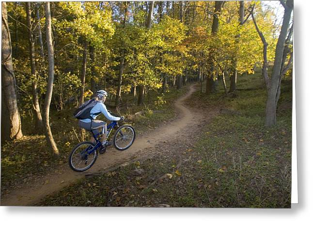 Shades State Park Greeting Cards - Woman Mountain Biker Rides Singletrack Greeting Card by Skip Brown