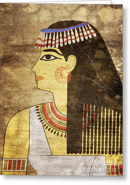 Rare Mixed Media Greeting Cards - Woman of Ancient Egypt Greeting Card by Michal Boubin