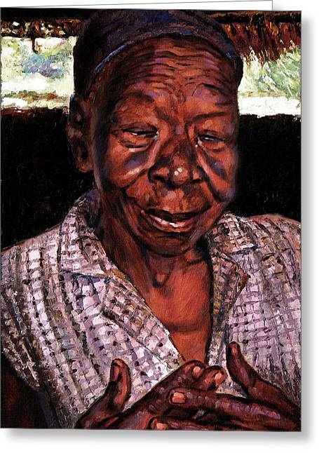 Black Woman Praying Greeting Cards - Woman of Faith Greeting Card by John Lautermilch