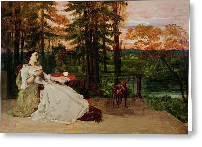 Gustave (1819-77) Greeting Cards - Woman of Frankfurt Greeting Card by Gustave Courbet