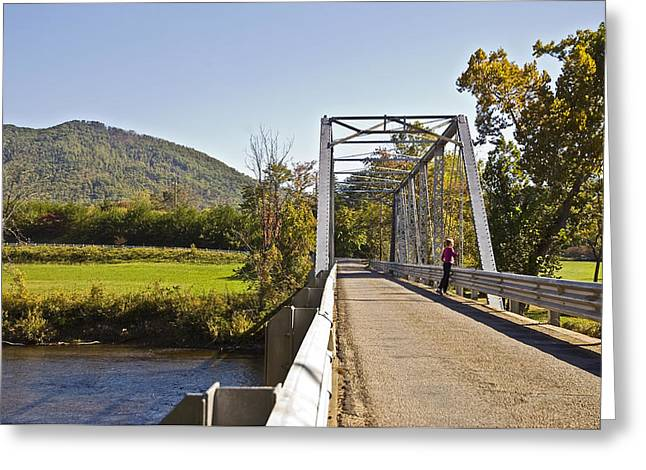 Susan Leggett Greeting Cards - Woman on a Bridge Greeting Card by Susan Leggett