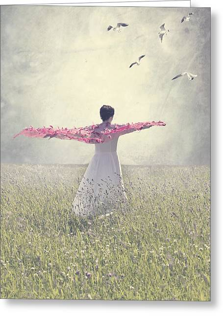 Turf Greeting Cards - Woman On A Lawn Greeting Card by Joana Kruse