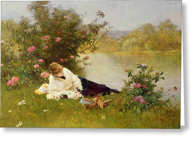 Lying Paintings Greeting Cards - Woman on a River Bank Greeting Card by Ferdinand Heilbuth