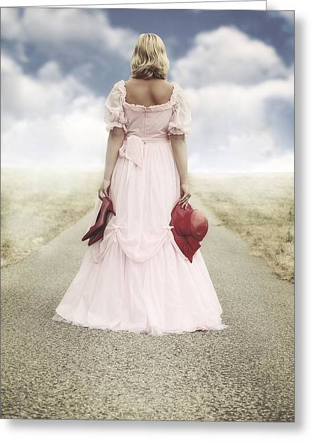 Blond Hair Greeting Cards - Woman On A Street Greeting Card by Joana Kruse