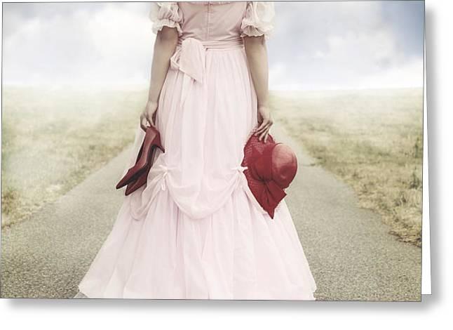 woman on a street Greeting Card by Joana Kruse