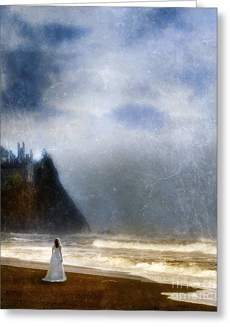 Historical Costume Greeting Cards - Woman on Beach With Castle in Background Greeting Card by Jill Battaglia