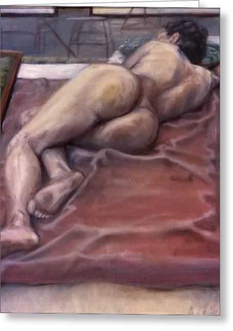 John Clum Greeting Cards - Woman on Blanket Greeting Card by John Clum