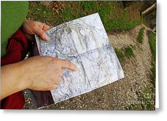 Relief Map Greeting Cards - Woman on country road pointing map Greeting Card by Sami Sarkis