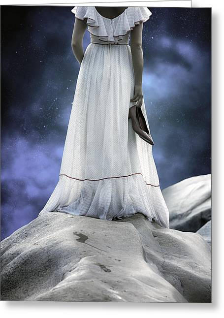 Arms Behind Back Greeting Cards - Woman On Rocks Greeting Card by Joana Kruse
