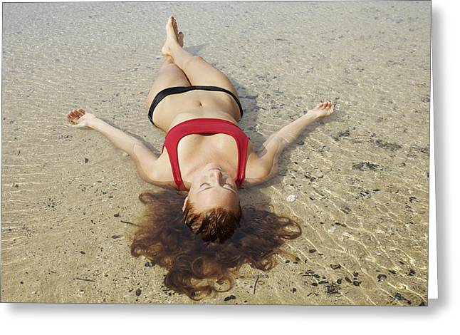 Floating Girl Greeting Cards - Woman on Sand Greeting Card by Kicka Witte