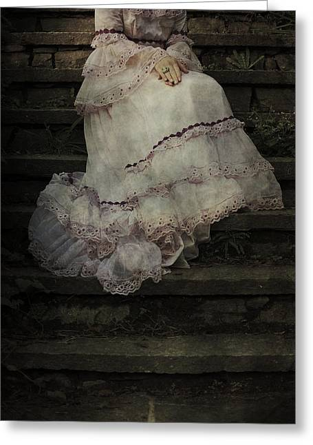 Pink Skirt Greeting Cards - Woman On Steps Greeting Card by Joana Kruse