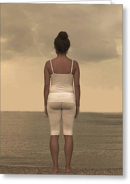 Dream Like Greeting Cards - Woman On The Beach Greeting Card by Joana Kruse