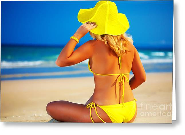 Sun Hat Greeting Cards - Woman on the beach Greeting Card by MotHaiBaPhoto Prints