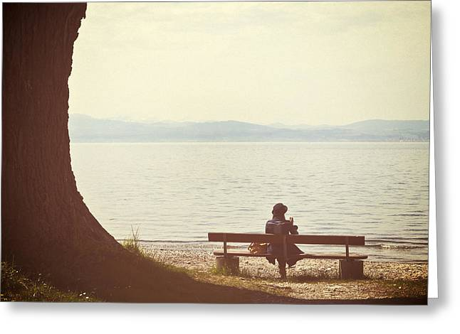 Sun Shade Greeting Cards - Woman On The Shore Of A Lake Greeting Card by Joana Kruse