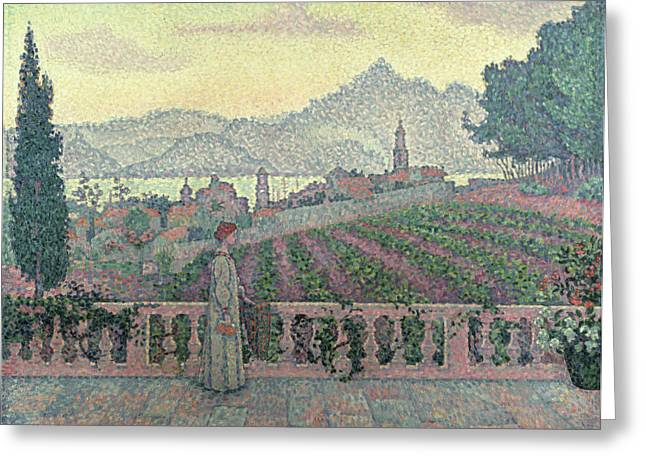 Pensive Greeting Cards - Woman on the Terrace Greeting Card by Paul Signac