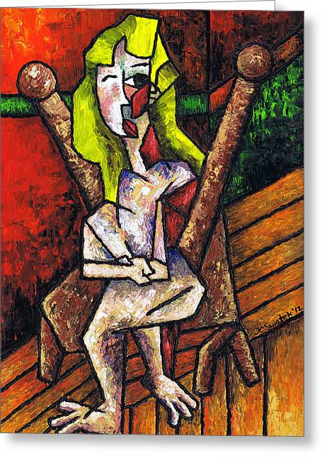 Pablo Picasso Greeting Cards - Woman on Wooden Chair Greeting Card by Kamil Swiatek
