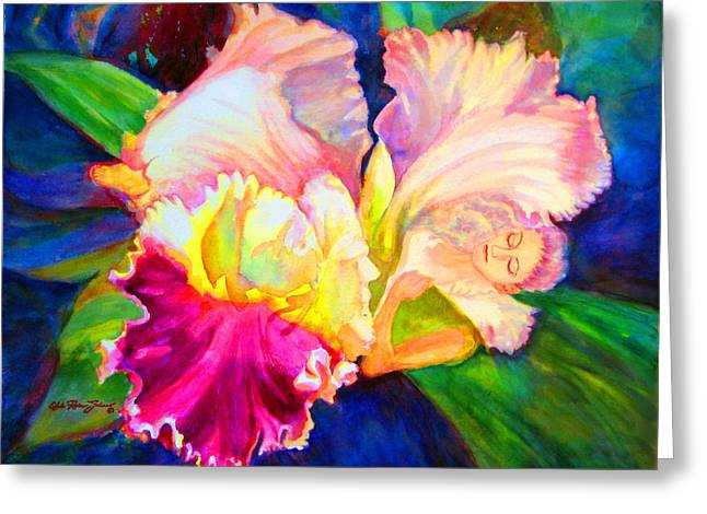 Reproducciones Tropicales Greeting Cards - Woman Orchid Greeting Card by Estela Robles