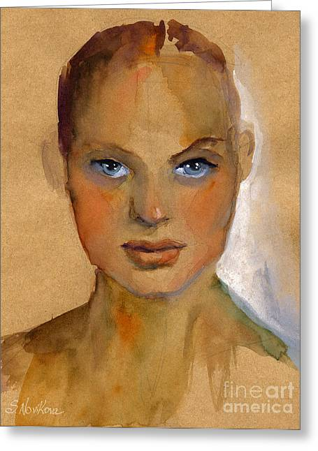 Custom Portraits Greeting Cards - Woman portrait sketch Greeting Card by Svetlana Novikova