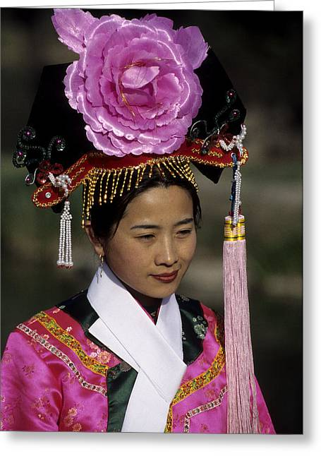 Summer Palace Greeting Cards - Woman Poses In Traditional Clothes Greeting Card by Raymond Gehman